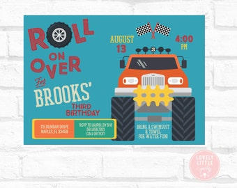 DIY Printable Monster Truck Birthday Invitation - Lovely Little Party