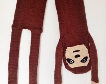 Cute Custom Made Hand Knitted Sloth Scarf