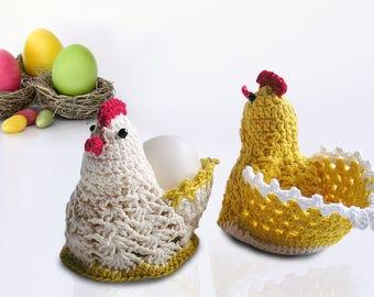 Handmade crochet Easter chicken  Egg Basket hens eggs cover Crochet hen egg cozy