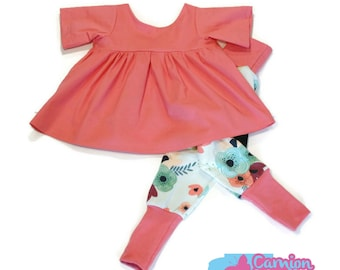 Summer coral, Navy and pink girl set