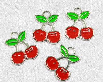 5 Cherry Enamel Charms Perfect for Summer Designs -  E036