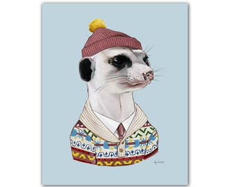 Cozy Meerkat art print  -  Animals in Clothes - Animal Art - Nursery Art - Animal Portrait - Ryan Berkley Illustration 8x10