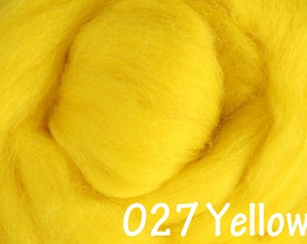 YELLOW 10g NZ Ashford Corriedale Wool Top Silver Roving - Ship from USA