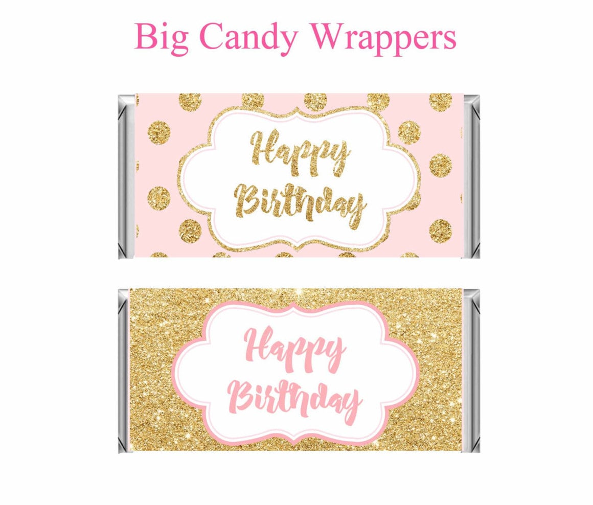Printable Candy Bar Wrapper Pink and gold Birthday Pink and