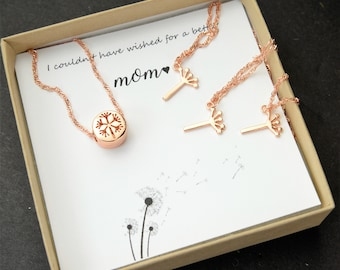 Mothers day gift for mom from daughter Mother Daughter Necklace Set Jewelry Dandelion Necklace personalized mothers day gifts mommy and me