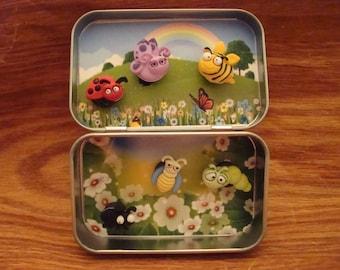 Altoids tin, Pocket Toy, Bugs, Springtime, Easter