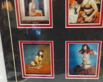 """Bettie Page Four Color Photo Collage --Matted and Wrapped approx 14"""" x 11"""" -- with Bettie Page plaque"""