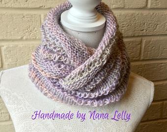 Luxurious Silky Pastel Knit Cowl. Circular Scarf, Infinity Scarf, Hygge Neckwarmer, Shawl (Sage, Pink & Purple mix) Stylish Winter accessory