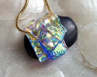 Sparkling Dichroic Glass Pendant, Kiln Fired Glass Necklace, Fused Glass Jewelry, Layered Dichroic Glass, Folded Art Glass Pendant