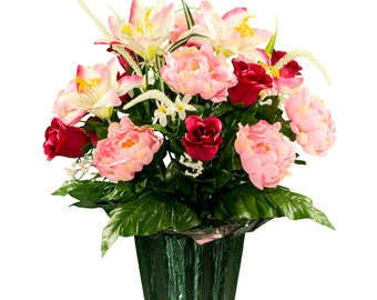 Cream Pink Stargazer with Peony and Roses Mix Potted Flower Arrangement - Cemetery Flowers (PT1967)
