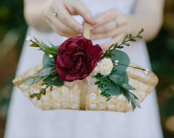 Boho Flower Girl Basket | Burgundy and blush flowers | Wedding Basket |  Wedding Accessories | Light Wood Bamboo | Woven Basket