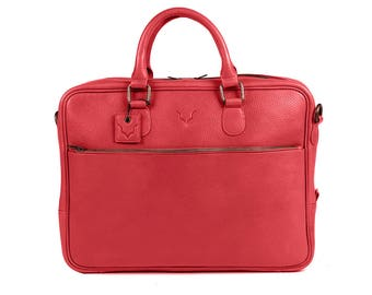 Fox Archer Briefcase - Wild Red Briefcase / Messenger / Laptop Bag - Limited Edition