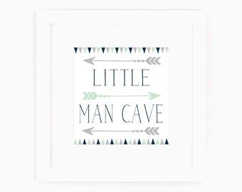 Baby Boy Nursery Decor - Little Man Cave - Navy - Grey - Art with Arrows - Art for little boys - Art for boys room - Art for boys Bathroom