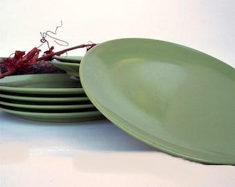 Melamine Salad Plates Seven Avocado Dessert Plates Olive Green Retro Plastic Melmac & Melmac salad plates | Etsy