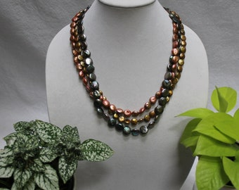 Triple Strand Coin Pearl Necklace