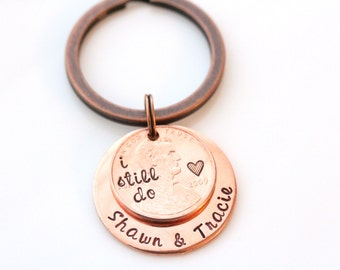 I Still Do - Lucky US Penny Keychain, 7th Year Copper Wedding Anniversary Gift, Keychain For Him, Date Keychain, Lucky Us Keychain Penny