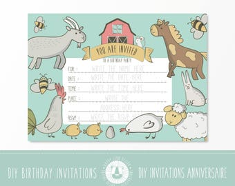 Farm Animals Birthday Party Invitation,Blank Birthday Invitation, Printable Party Invite,Kids Birthday,Party supplies,INSTANT DOWNLOAD