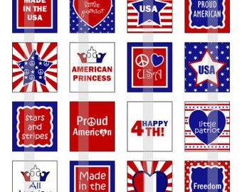 Happy 4th of July 2 - one 4x6 inch digital sheet of scrabble size (0.75 x 0.83 inches) images for scrabble tiles
