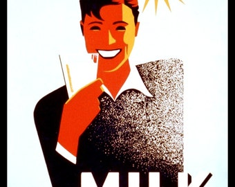 "WPA POSTER: ""Milk for Summer Thirst"" 1930s Giclee Print - Kitchen Wall Art - Milk Poster - Health Poster Art - Retro Health Poster"