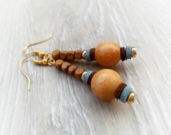 Rustic wooden earrings Eco earrings Wood Hippie earrings Boho brown earrings Casual wood earrings beadded light brown earrings hazel jewelry