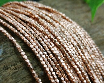 Handmade Copper Beads,1.5mm Tiny Square Faceted Plain Beads,14 inch long,approx:210 pcs.