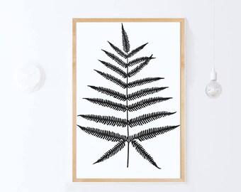 Large Botanical Print, Fern Poster Print, Scandinavian Poster, Botanical DIGITAL Print DOWNLOAD Fern Art Print, Nature PRINTABLE Art 24x36