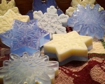 Snowflake Soap, Mini Soaps, Tiny Soaps, Glitter Soaps, Christmas Soap, Children's Soap, Kids Soaps, Stocking Stuffers, Favors