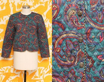 Quilted Coat // Green Paisley Jacket // 80s Worthington Lightweight Boho Floral Blouse Size Medium