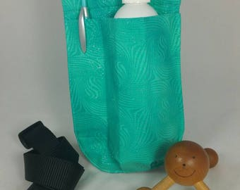 Massage therapy single Right hip 8oz bottle hip holster, pen pocket, Sparkly Mermaid, black belt