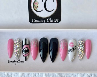 Pink Black XO Nails | Press On Nails | Glue On Nails | Ballerina | Stiletto | Glossy | Matte | Crystals