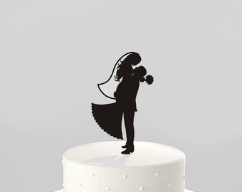 Wedding Cake Topper Silhouette Groom Lifting his Bride, Acrylic Cake Topper [CT38v]