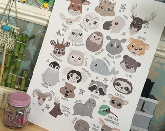 The A-Z of Animals (A3 Print)