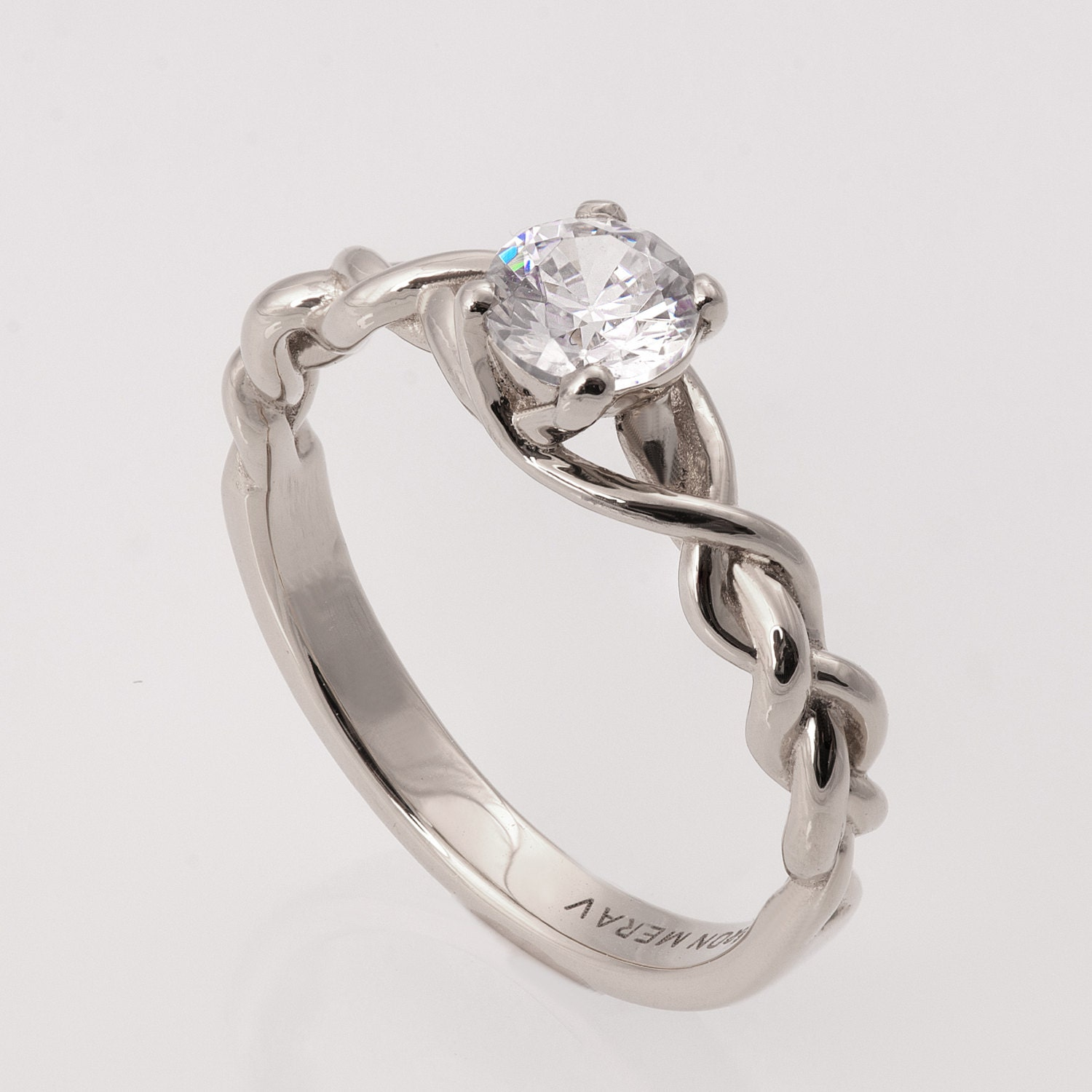 Braided Engagement Ring White Gold and Diamond engagement