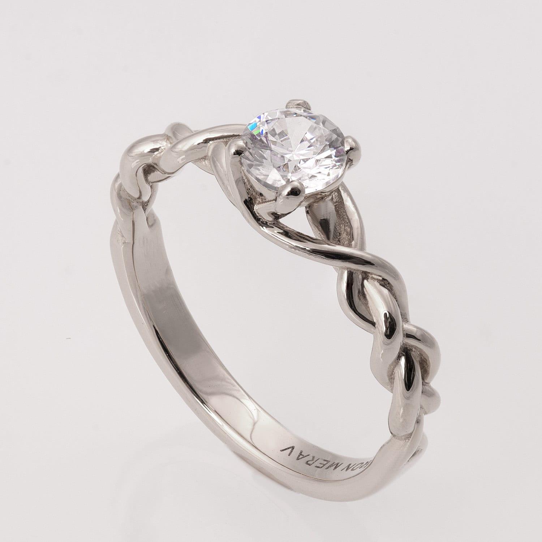 Braided Engagement Ring White Gold And Diamond