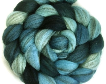 Handpainted Heathered BFL Roving - 4 oz. SHADES of Turquoise - Spinning Fiber