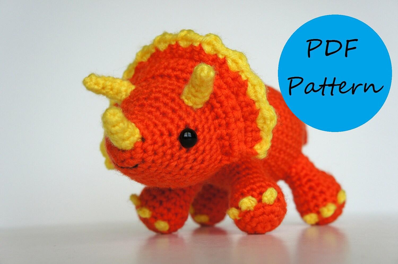 Crochet Amigurumi Patterns : Crochet amigurumi pattern triceratops dinosaur