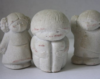 Trio of Marbell Stone Art Figures Made in Belgium