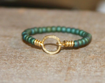 Stackable Thin Ring - Green Beaded Ring, Circle 14k Gold Filled Wire Wrapped Thin Ring, Beaded Ring, Gift Women, Gifts For Her, Handmade