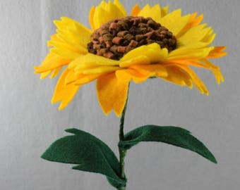 Artificial Flower Sunflower Made-To-Order - Fake Flower, Felt Flower on a Stem, Artificial Sunflower, Fake Sunflower, Kansas State Flower