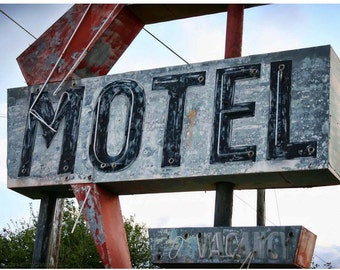 Fading Motel Neon Sign Photo - 5x7 Documentary Photo Art - Route 66 Motel Neon - Forgotten America Photograph - Red Arrow Neon Photo Art