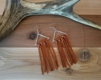 Handmade Leather Fringe Earrings | Leather Earrings |  Deerskin Lace | Boho Earrings | Dangle Earrings | Handmade