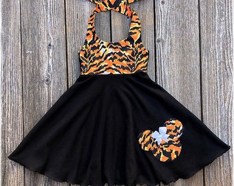 Animal Kingdom Minnie Mouse Dress- Tiger Print Minnie Mouse Girl Dress- Minnie Mouse Girl Clothes