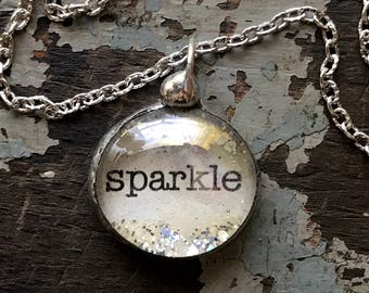 Sparkle Necklace, Inspirational Jewelry, She leaves a little sparkle jewelry, Soldered Glass Bubble Charm Necklace, Gift for friend
