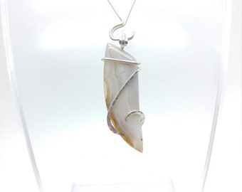White Banded  Agate Pendant | Banded Agate Necklace | Sterling Silver | Rare Stone Pendant | Central Oregon Agate Pendant