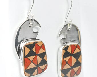 Mata Ortiz Patterned Eagle Earrings