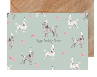 Poodle birthday card etsy birthday card dog birthday card poodle birthday card happy birthday card party bookmarktalkfo Gallery