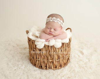 Winnie - White Cream Ivory - Halo Headband Crown - Girls Newborns Baby Infant Adults - Photo Prop