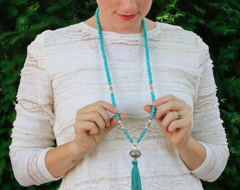 Long Turquoise Beaded Tassel Necklace with Silver Tibetan Focal Bead- Long  Beaded Tassel Necklace