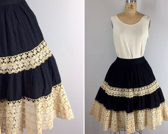 Vintage Mexican Wedding Skirt / 1950s Tiered Skirt with Crochet Lace