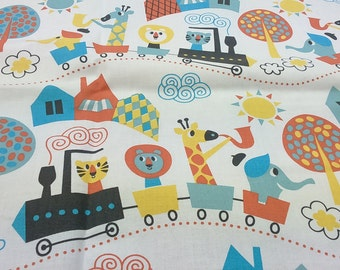 Fabric white yellow blue fun Animals Trains Trees Modern Kids Nursery fabric Cotton Fabric Scandinavian Design Scandinavian Textile